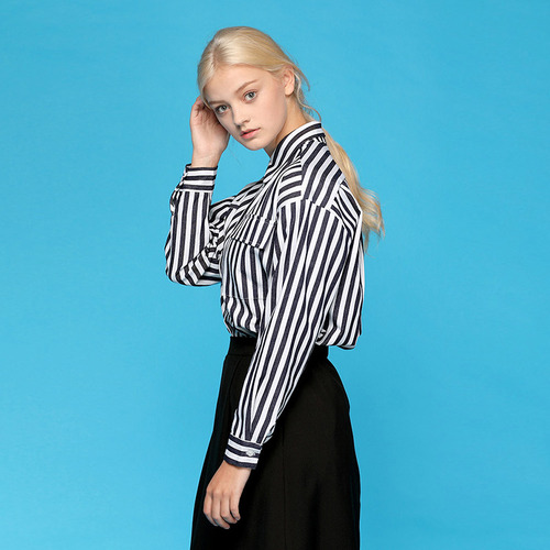MG7S STRIPE OVER FIT SHIRTS (black)
