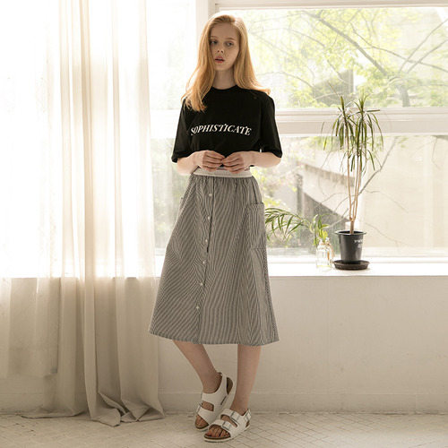 MG7S STRIPE A-LINE LONG SKIRT (black)