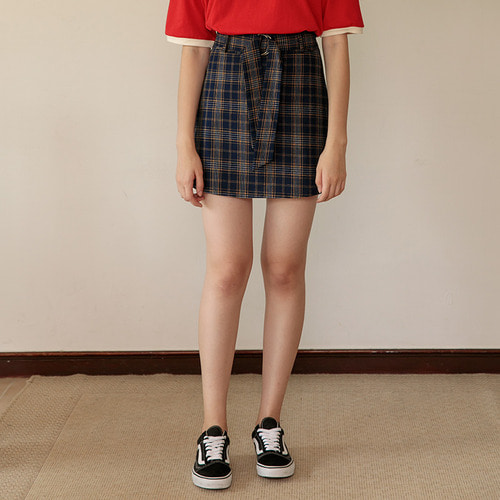 MG7S 3 CHECK BUCKLE SKIRT (navy)