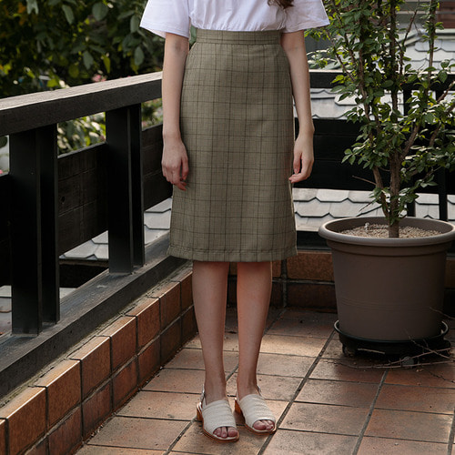 MG7S CHECK SLIT SKIRT (brown)