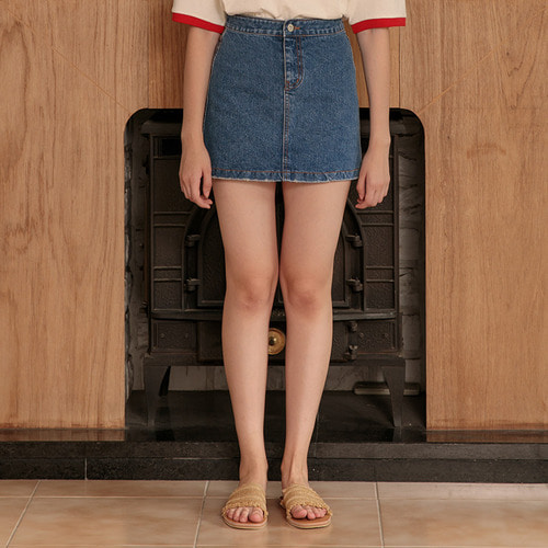 MG7S DENIM DAMAGE SKIRT (blue)