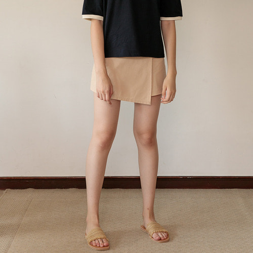 MG7S LINEN WRAP SKIRT (beige)