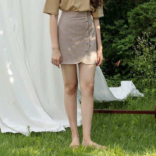 MG7S ROUND BUTTON SKIRT (brown)