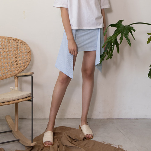 [리퍼브]MG7S STRIPE RIBBON SKIRT (light blue)