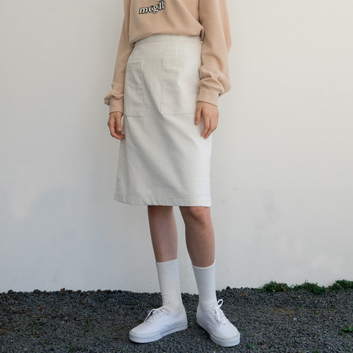[리퍼브]MG7F CORDUROY SLIT SKIRT (IVORY)