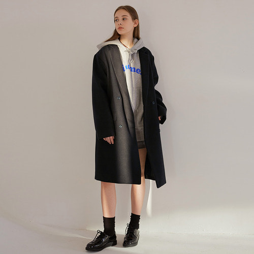 MG7F DOUBLE MIDDLE COAT (BLACK)