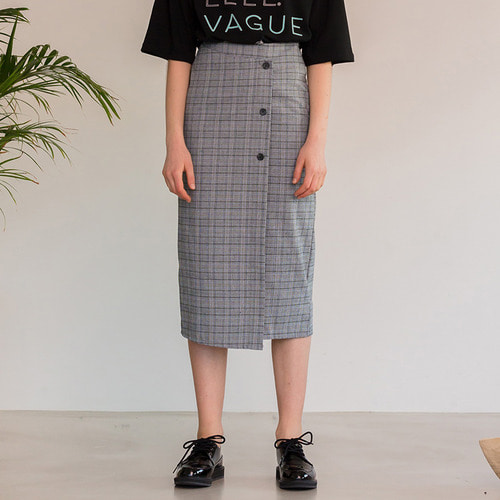 MG8S CHECK BUTTON WRAP SKIRT (BLUE)