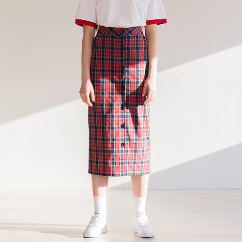 MG8S OPEN CHECK SKIRT (RED)