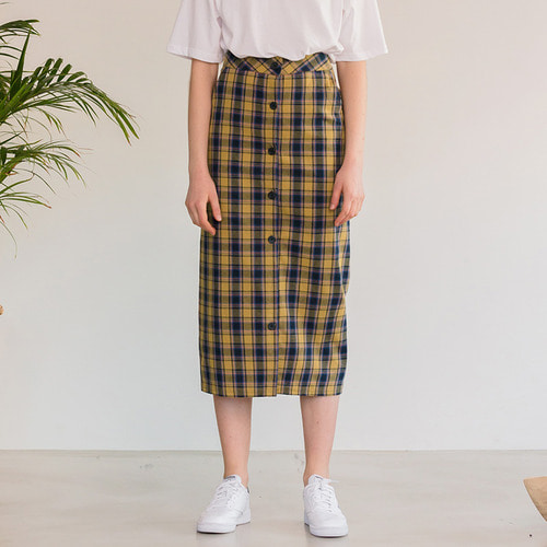 MG8S OPEN CHECK SKIRT (YELLOW)