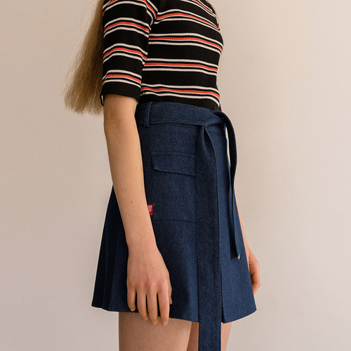 MG8S DENIM STRAP MINI SKIRT (NAVY)
