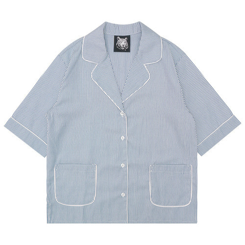 MG6S STRIPE PAJAMAS SHIRTS (BLUE)