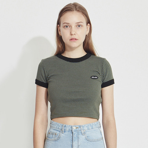 MG8S STRIPE CROP TEE (KHAKI)