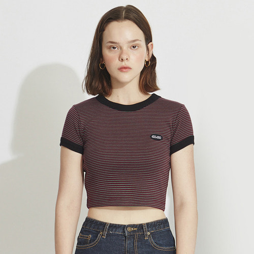 MG8S STRIPE CROP TEE (WINE)