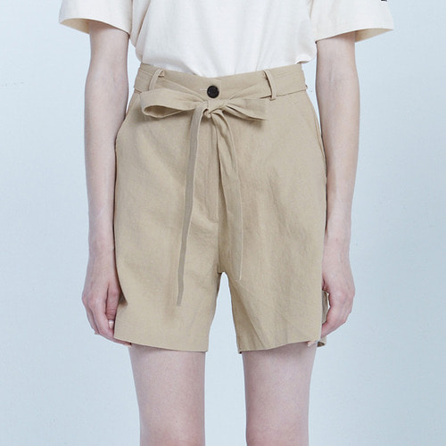 MG8S LINEN RIBBON SHORTS (BEIGE)