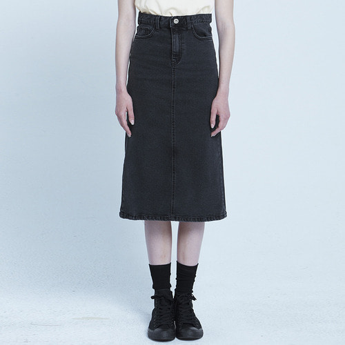 MG8S DENIM LONG SKIRT (BLACK)