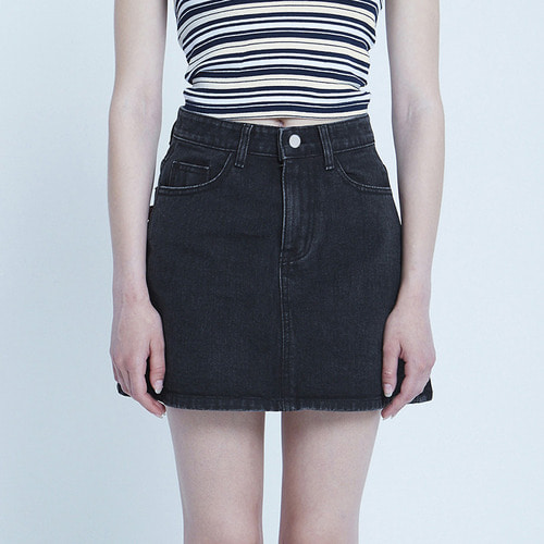 MG8S DENIM MINI SKIRT (BLACK)