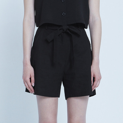MG8S LINEN RIBBON SHORTS (BLACK)
