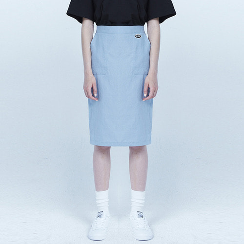 MG8S LINEN SLIT SKIRT (LIGHT BLUE)