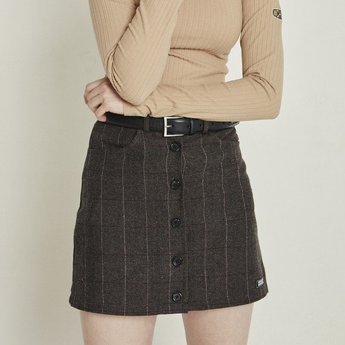 MG8F HERRINGBONE CHECK SKIRT (DARK BROWN)