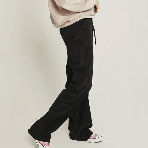 MG8F CORDUROY HIGH WAIST PANTS (BLACK)