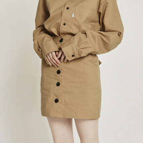 MG8F BUTTON SKIRT (BEIGE)