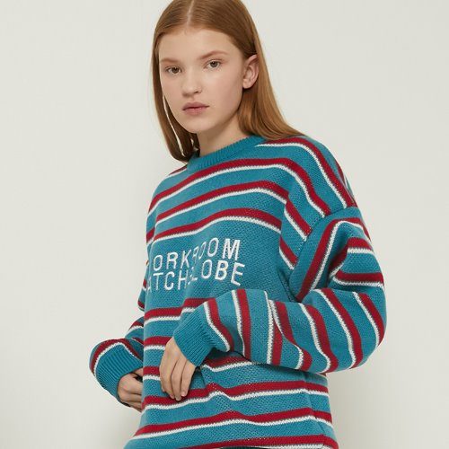MG8F STRIPE LOGO KNIT (SKY BLUE)