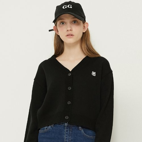 MG8F BASIC LOGO CARDIGAN (BLACK)