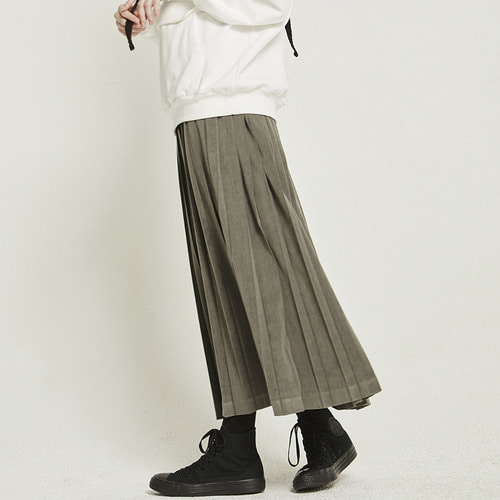MG8F PLEATS LONG SKIRT (KHAKI)