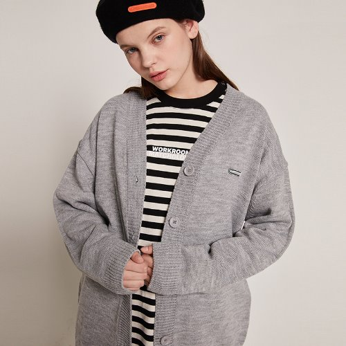 MG9S OVERFIT KNIT CARDIGAN (GRAY)