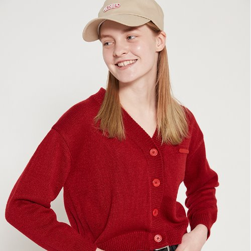 MG9S BASIC LOGO KNIT CARDIGAN (RED)