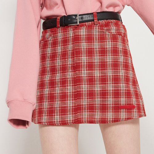 MG9S CHECK MINI SKIRT (RED)