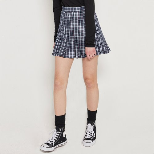 MG9S PLEATS CHECK SKIRT (NAVY)