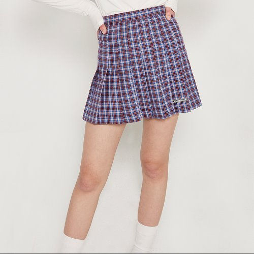 MG9S PLEATS CHECK SKIRT (BLUE)