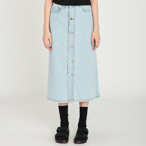 MG9S DENIM OPEN LONG SKIRT (LIGHT BLUE)