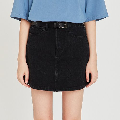 MG9S DENIM BASIC MINI SKIRT (BLACK)