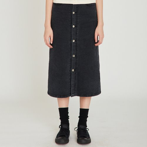 MG9S DENIM OPEN LONG SKIRT (BLACK)