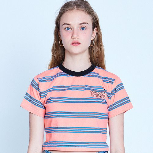MG9S STRIPE POINT CROP TEE (CORAL)