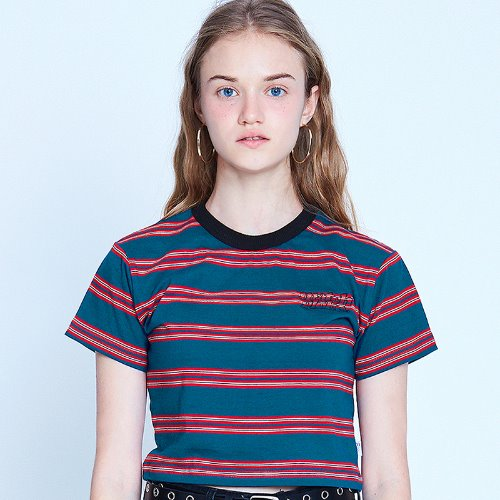 [리퍼브]MG9S STRIPE POINT CROP TEE (NAVY)