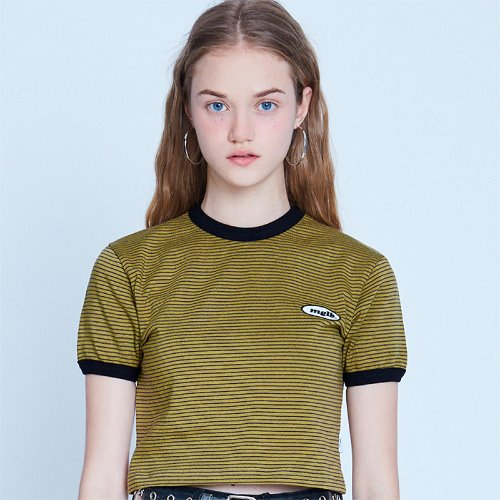 MG9S STRIPE MG CROP TEE (OLIVE GREEN)