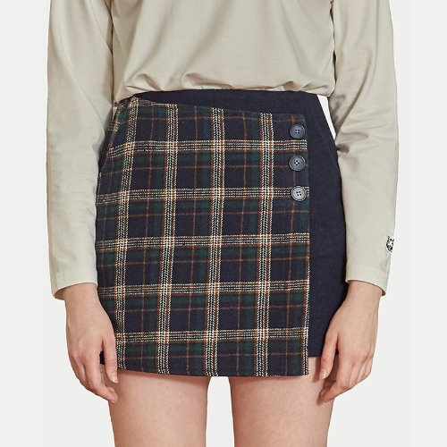 MG9F CHECK WRAP PANTS SKIRTS (NAVY)