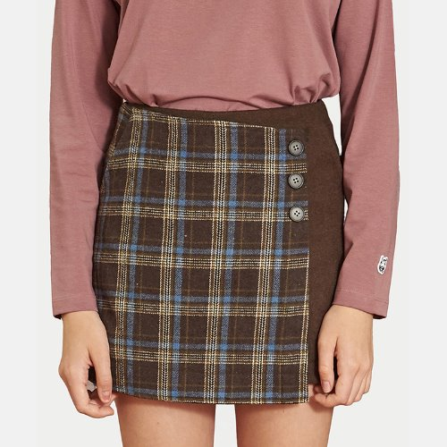 MG9F CHECK WRAP PANTS SKIRTS (BROWN)