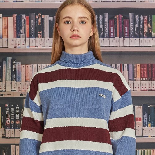MG9F STRIPE PULLOVER KNIT (DARK BLUE)