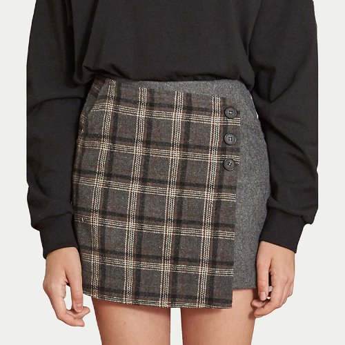MG9F CHECK WRAP PANTS SKIRTS (GRAY)