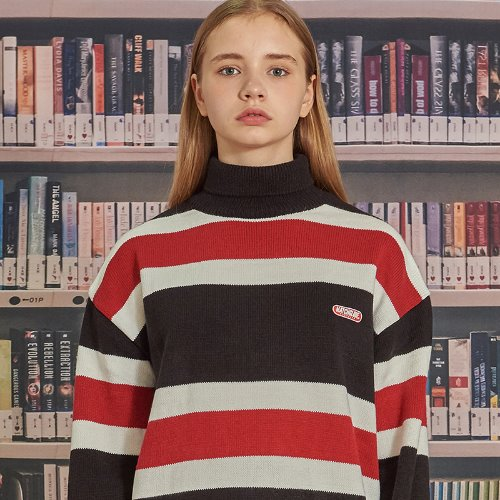 MG9F STRIPE PULLOVER KNIT (BLACK)