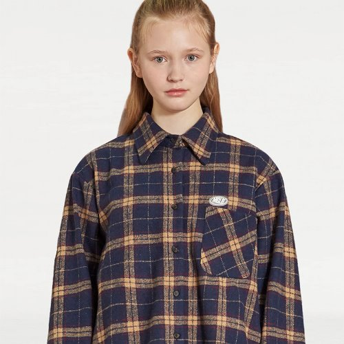 MG9F OVERSIZE CHECK SHIRT (NAVY)