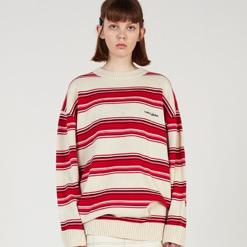 MG0S MULTI STRIPE KNIT MTM (IVORY)