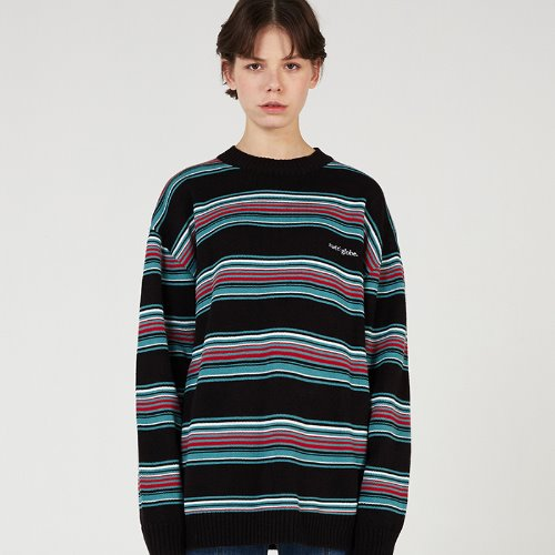 [리퍼브] MG0S MULTI STRIPE KNIT MTM (BLACK)