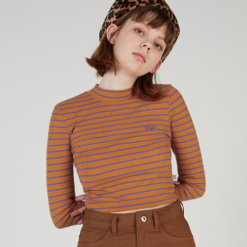 MG0S FINGERHOLE STRIPE HALF NECK TEE (ORANGE)
