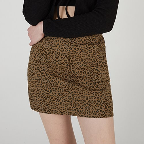 [리퍼브] MG0S LEOPARD MINI SKIRT (BROWN)