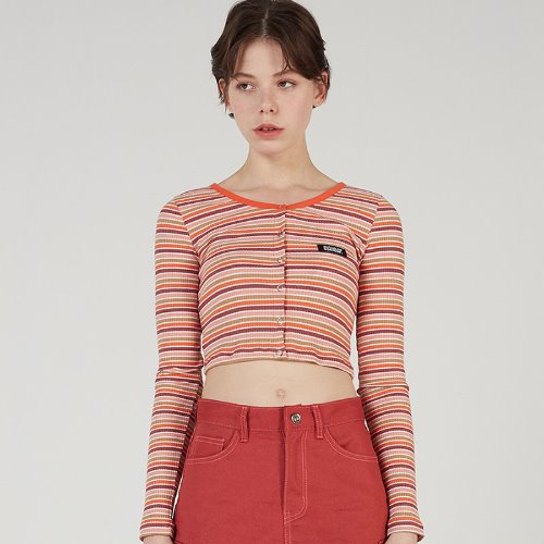 MG0S STRIPE CROP CARDIGAN (ORANGE)